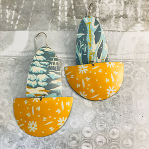 Winter Trees & Sunny Flowers Upcycled Tin Boat Earrings