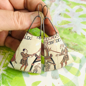 Bayeux Tapestry Soldiers Upcycled Tin Long Fans Earrings