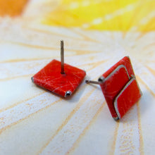 Load image into Gallery viewer, Red & Silver Folded Square Upcycled Tin Post Earrings