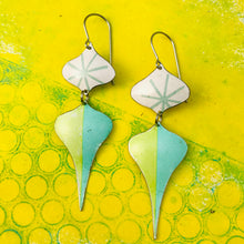 Load image into Gallery viewer, Retro Pale Aqua & Chartreuse Rex Ray Zero Waste Tin Earrings
