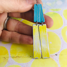 Load image into Gallery viewer, Rustic Matte Aqua & Sunshine Zero Waste Tin Earrings