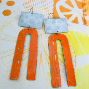 White Xd and Orange Arch Zero Waste Tin Earrings