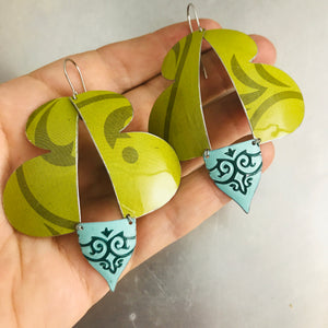Abstract Green Butterflies Upcycled Tin Earrings
