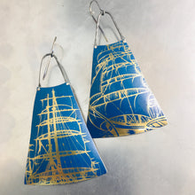 Load image into Gallery viewer, Golden Schooners Zero Waste Tin Long Fans Earrings