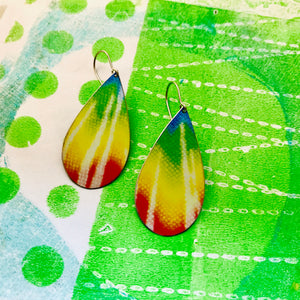 Tie Dyed Upcycled Teardrop Tin Earrings