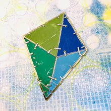 Load image into Gallery viewer, Octahedron Upcycled Tin Brooch