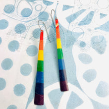 Load image into Gallery viewer, Red Top Rainbow Narrow Strips Tin Earrings