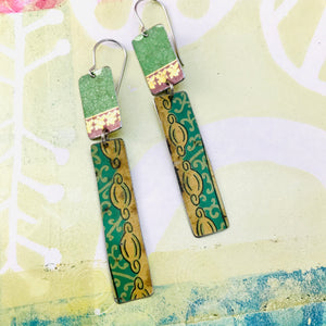 Vintage Greens & Gold Recycled Tin Earrings