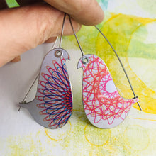 Load image into Gallery viewer, Spirograph 1 Birds on a Wire Upcycled Tin Earrings