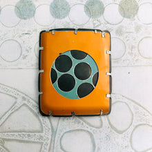 Load image into Gallery viewer, Encircled Persimmon & Matte Aqua Upcycled Tin Brooch