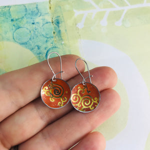 Golden Filigree on Orange Upcycled Tiny Dot Earrings