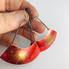 Load image into Gallery viewer, Fireworks on Shimmery Red Recycled Tin Wide Arc Earrings
