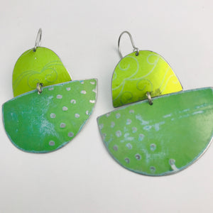 Shimmery Green Boats Upcycled Tin Earrings