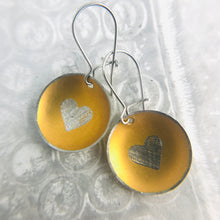 Load image into Gallery viewer, Etched Silver Heart on Gold Tiny Dot Tin Earrings