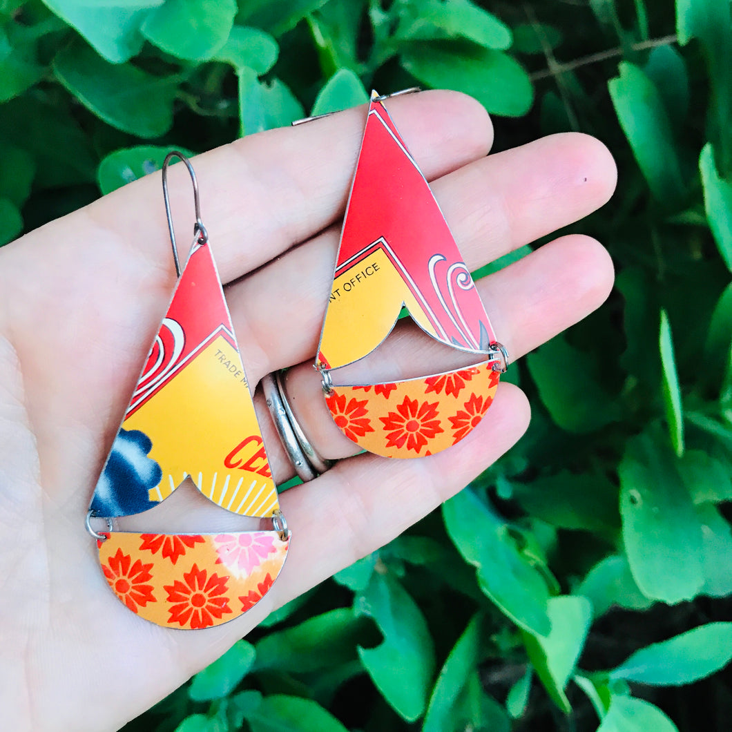 Bright Orange Flowers Vintage Tin Arrows Earrings