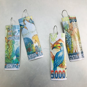 Costa Rica Currency Rectangle Upcycled Tin Earrings