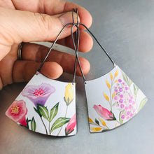 Load image into Gallery viewer, Flower Garden on Bright White Recycled Tin Earrings