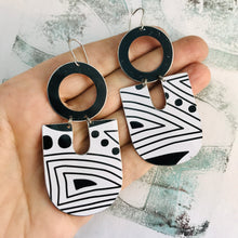 Load image into Gallery viewer, Black and White Doodles Chunky Horseshoes Zero Waste Tin Earrings