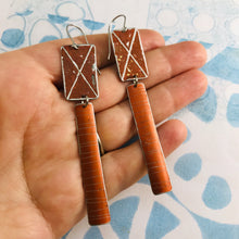 Load image into Gallery viewer, Rustic Bark & Burnt Orange Zero Waste Tin Earrings