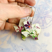 Load image into Gallery viewer, Purple Wildflowers on White Texas Upcycled Tin Earrings