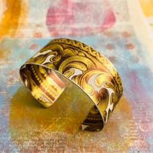 Load image into Gallery viewer, Antiqued Golden Swirls Upcycled Tin Cuff
