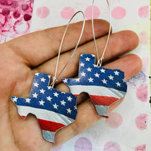 Load image into Gallery viewer, USA Texas Upcycled Tin Earrings