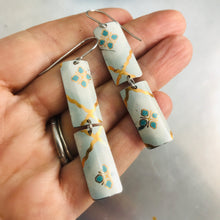 Load image into Gallery viewer, White, Gold & Teal Rectangles Tin Earrings