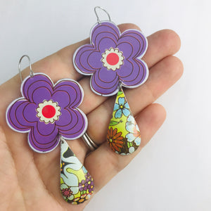 Big Purple Flowers Upcycled Vintage Tin Long Fans Earrings