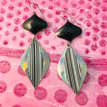 Load image into Gallery viewer, Black & Silver Hologram Rex Ray Zero Waste Tin Earrings