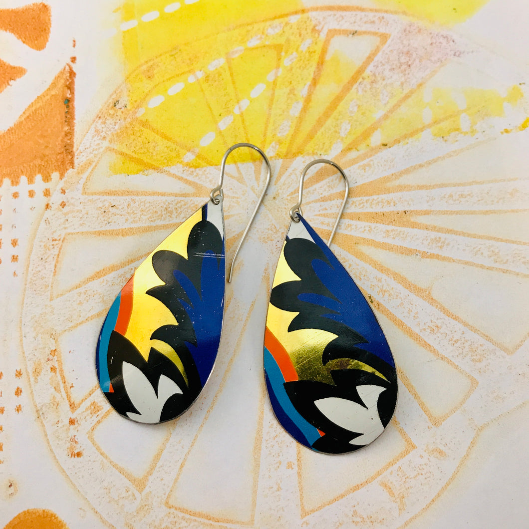 Blue Wave on Gold Upcycled Teardrop Tin Earrings