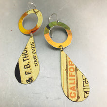 Load image into Gallery viewer, California & New York Upcycled Vintage Tin Long Teardrops Earrings by Christine Terrell for adaptive reuse jewelry