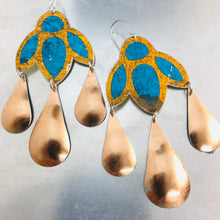 Load image into Gallery viewer, Shimmery Blue & Copper Zero Waste Tin Chandelier Earrings