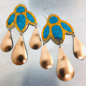 Shimmery Blue & Copper Zero Waste Tin Chandelier Earrings