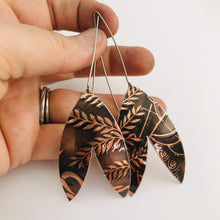 Load image into Gallery viewer, Copper Leaves Double Leaf Upcycled Tin Earrings