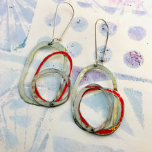 Load image into Gallery viewer, Whites & Pop of Red Smaller Scribbles Upcycled Tin Earrings