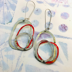 Whites & Pop of Red Smaller Scribbles Upcycled Tin Earrings