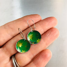 Load image into Gallery viewer, Paris Green & Golden Starlets Upcycled Tiny Dot Earrings