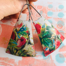 Load image into Gallery viewer, Vintage Flowers on White Zero Waste Tin Long Fans Earrings
