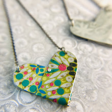 Load image into Gallery viewer, Vintage Mosaic Tin Heart Recycled Necklace