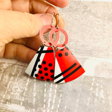 Load image into Gallery viewer, Black & White & Red Graphics Small Fans Tin Earrings