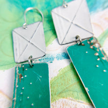 Load image into Gallery viewer, Grass Green & Snowy White Recycled Tin Earrings