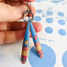 Load image into Gallery viewer, Red & Yellow Tulips Long Teardrops Upcycled Tin Earrings