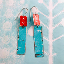 Load image into Gallery viewer, Rustic Red & Aqua Zero Waste Tin Earrings