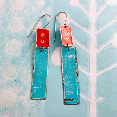 Rustic Red & Aqua Zero Waste Tin Earrings