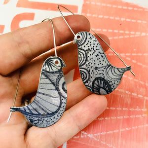 Ink Doodles Birds on a Wire Upcycled Tin Earrings