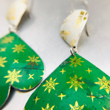 Load image into Gallery viewer, Green & Golden Starlets Trefoil Zero Waste Tin Earrings 30th Birthday Gift