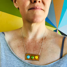 Load image into Gallery viewer, Aqua, Apple & Mango on Pumpkin Recycled Tin Necklace