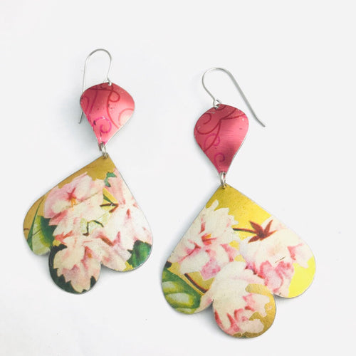 Pink Peonies on Gold Trefoil Upcyled Tin Earrings