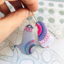 Load image into Gallery viewer, Spirograph 2 Birds on a Wire Upcycled Tin Earrings
