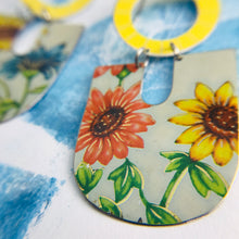Load image into Gallery viewer, Gerber Daisies Chunky Horseshoes Zero Waste Tin Earrings